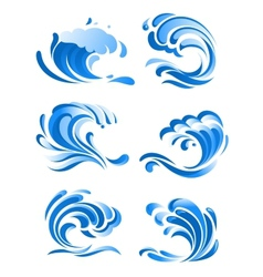Blue curling ocean waves vector image