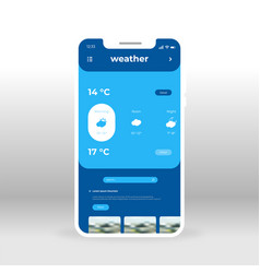 Blue weather information ui ux gui screen for vector