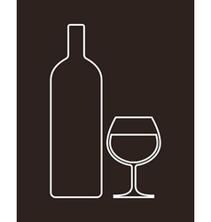 bottle and glass alcohol vector image