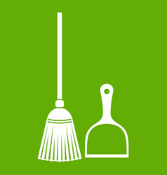 Broom and dustpan icon green vector