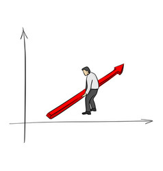businessman raise the red arrow for success vector image