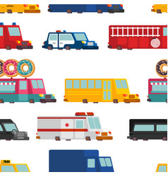 car cartoon seamless pattern fire engine and vector image
