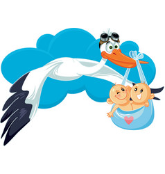 Cartoon stork with twins vector