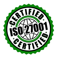 certified iso 27001 label or sticker vector image