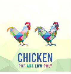 Chicken rooster animal pet pop art line low poly vector