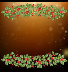 christmas and new year card with berries eps 10 vector image