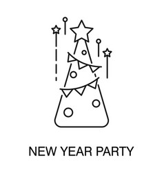 christmas tree isolated outline icon new year vector image