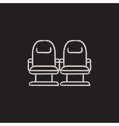Cinema chairs sketch icon vector image