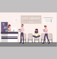 City library visitors flat vector