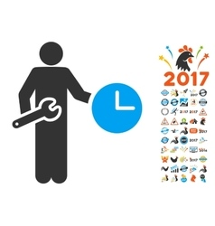 Clock Serviceman Icon With 2017 Year Bonus Symbols vector
