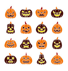 colorful carving face pumpkin icon set vector image