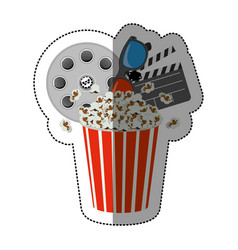 Colorful sticker with popcorn cup with vector