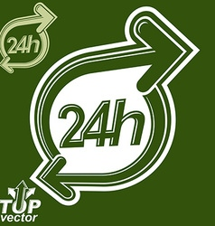 Contemporary 24 hours detailed icon with two vector image