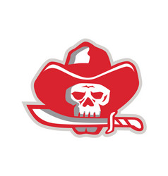 Cowboy pirate skull biting knife retro vector