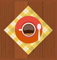 cup and sauser with coffee bubbles spoon from top vector image