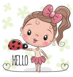 Cute cartoon girl with ladybug vector