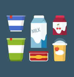 Dairy and milk products set in cartoon style vector