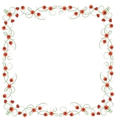 Delicate frame with red poppies vector image