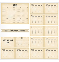 Desk Calendar 2016 Design Template vector