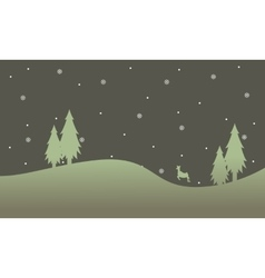 Doodle of reindeer at night scenery vector