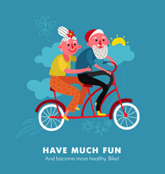 elderly bike holiday cartoon vector image