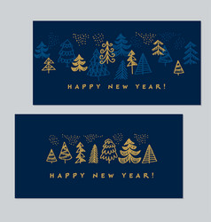 elegant luxury style christmas trees for cards vector image