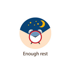 Enough rest round flat icon wellbeing concept vector
