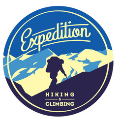 Extreme outdoor adventure badge high mountains vector