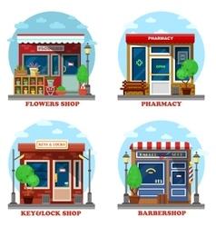 Facade shop and stores outdoor exterior vector