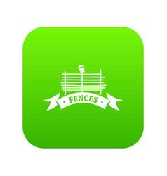 fence village icon green vector image