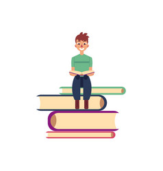 Flat adult man reading book at pile vector