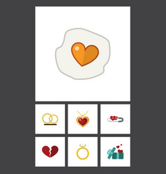 Flat icon amour set of divorce closed engagement vector