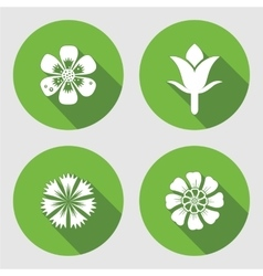 Flower icons set Chamomile daisy blue poppy vector