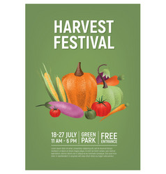 Flyer poster or invitation template for harvest vector