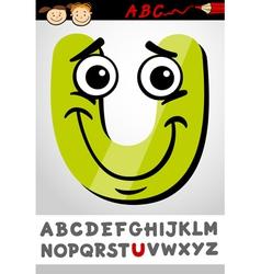 Funny letter u cartoon vector