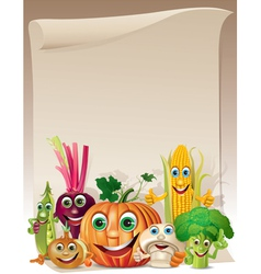 Funny vegetables cartoon company scroll vector image