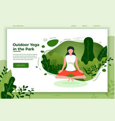 Girl in yoga lotus pose outdoor vector