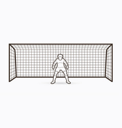 goalkeeper standing action soccer player outline vector image