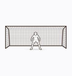 Goalkeeper standing action soccer player outline vector