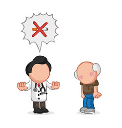 Hand-drawn cartoon of doctor telling old patient vector