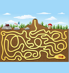 help red ant to find way out from underground maze vector image