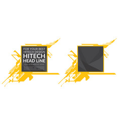 hi-tech yellow elements with polygonal texture vector image