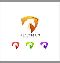 Horse shield logo design vector