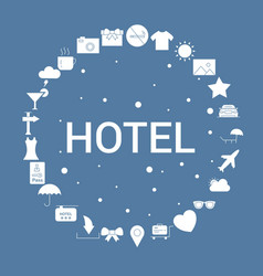 Hotel icon set infographic template vector