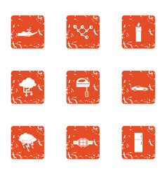 Information compliance icons set grunge style vector