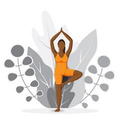 International day yoga girl practicing yoga vector