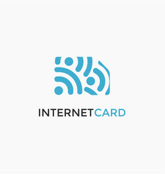 internet wave signal and simcard logo icon vector image