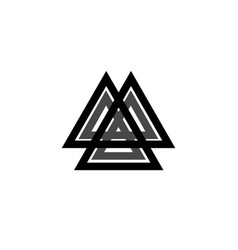 interwoven triangles valknut sacred geometry sign vector image