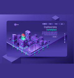 isometric city violet wallpaper vector image