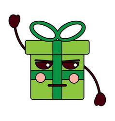 kawaii gift box cartoon facial expression vector image